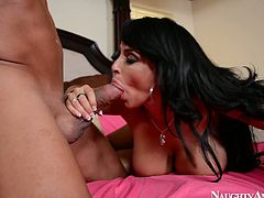 Be ready for endless pleasure together with this hot tempered busty brunette right here and right now. She rides his dick and after he drills her slit in missionary style from behind.
