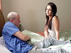Bald dude visits a skinny brunette prostitute over at her place. She sits in front of him and rubs his dick with rapacious hand through jeans before she inclines to mouth fuck his huge penis.