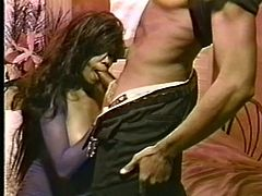 Here's a good old classic porn. Xtacy, an ebony babe with a pair of juicy lips feels horny and sucks this guy, David with pleasure. She slides her big, sexy lips around his dick and enjoys what she's doing. See her expression? She loves to have a dick between those lips!