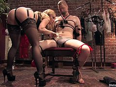 This is his first taste of kinky painful sex. It is extreme and bizarre, but both parties enjoy it a lot, even when she sticks a club deep in his ass.