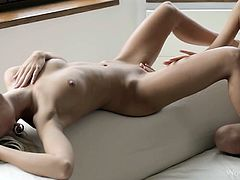 Flexible and enchanting blonde babe wants her chick to drill her shaved kitty indoors