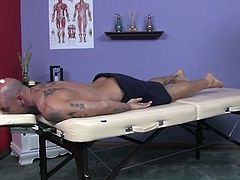 Horny bald daddy chooses a bootylicious chocolate milf for erotic massage. She sits on him while massaging his slack body and meety hard cock with manicured fingers exposing her juicy ass for rapacious hand strokes from him.