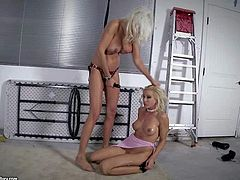 Experienced blonde milf Puma Swede with huge round fake balloons and tight firm ass fucks deep with strap on her young tied up playgirl Sandy with delicious ass in amazing fantasy