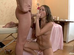 Hottie likes feeling large dick stroking her mouth in nasty blowjob session