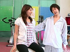 Statuesque Asian hottie Haruna Sakurai is having fun with her fitness instructor. He fondles her pussy and her small tits to prepare her for total body work out.