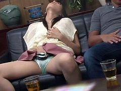 Charming Japanese girl Nozomi Aiuchi is having fun with a stranger indoors. Nozomi fingers her pussy and then sucks and rides the dude's prick.