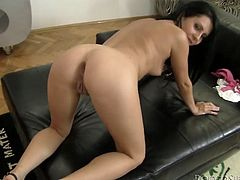 Bootyful brunette harlow exposes her juicy ass for a hard anal fuck in doggy pose before a rapacious fucker switches to her vagina in sultry pov sex video by Fame Digital.