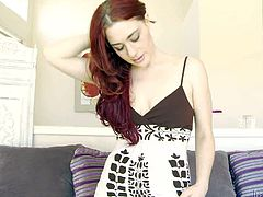Adorable long haired naughty redhead teen with soft milky skin and great seductive skills in sexy summer dress and thong teases her step daddy with tight firm ass in living room