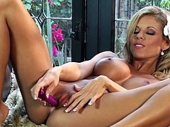 Chesty blondie Nicole Graves and other solo video for you! Her pink toy is for her tight pussy. She pleasures herself using her dildo right.