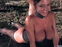 Sara Faye and Claire Dames are having a good time with some guy in a forest. The dude ties the girls up and plays with their cunts before fucking them hard from behind.