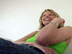 Shy amateur blonde Laura gets filmed in close up