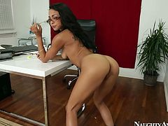 She is wearing glasses looking damn sexy and hot. She bends over her boss' table getting rammed from behind. Then she is screwed missionary style.
