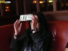 Cheap Russian whore hooks up with a young wanker in cafe. For just 20 bucks she is ready to demonstrate her full tits and mouth fuck his rod in the public place surrounded by a bunch of people.
