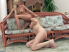 young slutty blonde bitch with nice natural boobs and sexy body gets licked to orgasm by lusty pussy loving granny in awesome positions and uses strap on just for fun