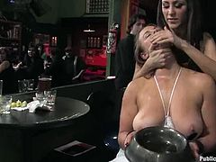 Busty blonde Bella Rossi lets some guy tie her up. Then a few people rub her nice holes and attach clothes pegs to her tits. After that John Strong comes up to the bitch and destroys her juicy cunt.