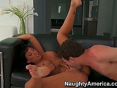 You have to watch long haired brunette mom Lezley Zen in action, and when we say action, we are talking about her taking a hard long boner up her slippery cunt.