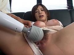 Juicy and sizzling Japanese honey Mana gets her tits tight up and her wet pussy fingered. Then he sticks it in her and she loves the feelings.