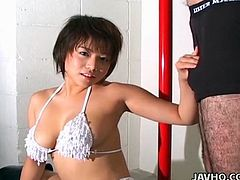 Innocent Asian model Mai Haruna being fucked in her shaved puss and wide opened mouth!