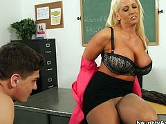 Thirsting for cum teacher Alura Jenson unzips dude's pants and sucks a dick