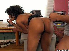 Misty Stone is seductive ebony hoe with delicious rounded booty. She bends over the table in the office getting hammered hard from behind.