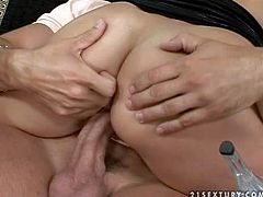 Dirty and slutty brunette babe with an amazing ass enjoys in taking on three hard bazookas in her hot sex session and sucking and riding them all at the same time