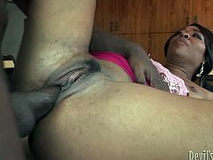 Aroused black fucker pounds stretched soaking vagina of his friend's steamy wifey in missionary style while she lays on the kitchen counter before she bends for a poke in doggy pose.
