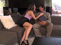 Beautiful brunette Tori Black gives a perfect blowjob to her man. Then she takes his dick in her wet pussy and they bang in cowgirl position and doggy style.