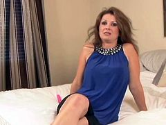 Dirty senior miss Raquel exposes off her huge chest and teases her...