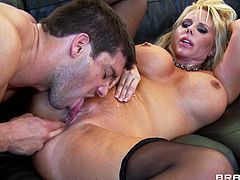 Feeling such cock in her hands makes blondie to get horny and eager to have it all in