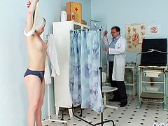 Svelte brunette mom goes through a zealous medical examination by pervert gynecologist, who stretches her beaver wide with his spoiled fingers in sultry Old Pussy Exam sex clip.