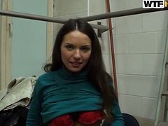 Two sex hungry colleagues hook up in the office. Young fucker undresses mesmerizing brunette babe exposing her red lingerie before she kneels down to give him a head.