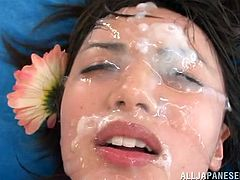 Look at this beautiful Nippon girl! Such a pretty face with gorgeous eyes, big pink lips and soft skin, isn't she a cutie? The only thing she needs to look even better is a lot of cum on her face and these men are ready to help her with that. They all cum on her pretty face and cover her with loads of jizz!