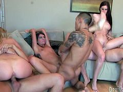 Three aroused wankers welcome thorough blowjobs from tasty looking Russian bimbos before the latter ride their stiff dicks in reverse cowgirl styles in sultry group sex video by Fame Digital.