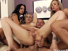 Wicked foursome with Ava Addams, Brandi Love, Julia Ann and brutal stud with long lasting dick