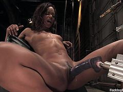 In this fucking machines scene, this smoking hot ebony babe has a great time cumming over and over again as she's fucked by a machine.