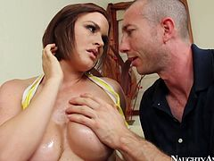 Juggy red-haired bimbos takes off yellow bikini in order to get her big tits mauled with pressure by aroused bald daddy, who later welcomes a skillful blowjob from her.