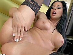 Larissa Dee is a raven haired busty breathtaker with perfect round ass and smooth pussy. She shows very inch of her perfect body before she inserts her fingers deep in her love tunnel.