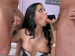 Dark haired babe Larissa Dee in short pink latex skirt gets her mouth and clean pussy fucked at once before she takes it in the ass. She really enjoys throbbing dick in her tight asshole.