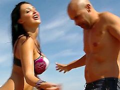 Aletta Ocean and her wild guy are having a reckless fuck on the roof of a two storey building. She fires the dude up with astonishing blowjob and then gives off her cunt for cool banging.