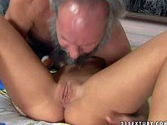 Slutty tattooed young blonde with nice natural hooters and slim body gets licked by turned on filthy grandpa and takes on his stiff pecker in provocative fantasy in living room