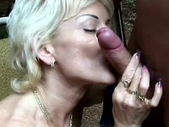Here's a classic fuck you'll enjoy watching. A mature blonde whore is having lots of fun with her younger guy. She rides him wherever she can and sucks his dick with pleasure. The blonde is mad about his young body and gets her pussy filled with his dick craving for every drop of semen this dude has.