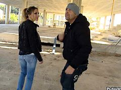 Nataly Von is a Russian whore who's approached by a greasy looking dude. He abducts her and takes her to underneath a secluded overpass where he whips out his cock. She's made to give this creep a sloppy blowjob right then and there.