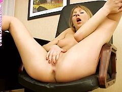 Slutty blonde Adelina is having some fun while she is home alone. She shows off her nice nude body and then lies down on the floor to play with her cunt.