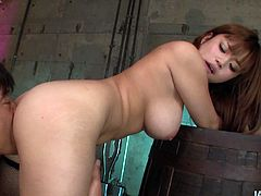 She is busty Japanese bitch wearing seductive college uniform. Her horny lover strips her passionately and later she gets her snatch polished properly from behind.
