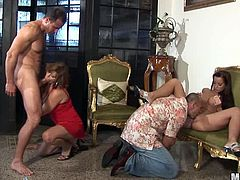 Horny babes are fucking their tigth pussies hard in amazing hardcore orgy