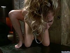 Kara Price lets horny stud Mark Davis bind her. Mark pokes a hook into Kara's ass and then drills her mouth and pussy remarcably well.