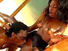 Slender black babe gets demolished by muscled stud