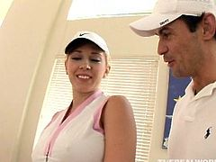 Kagney Lynn Carter wants to get banged by this guy's meaty golf club. Watch this busty babe while she's fucked hard till this guy's cums on her tits!