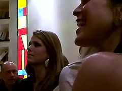 Cute blonde and brunnete lesbian bitches lick each others tits before a hot lesbian orgy action