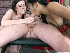 Two hot lesbian schoolgirls kiss and lick each other's pussies. When their coach gets a hardcore erection from watching, he whoops out his dick and fucks them both.
